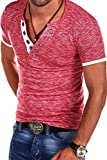 MT Styles V-Neck Buttons T-Shirt Polo BS-544 [Rot, M]