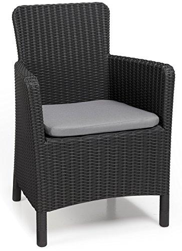 Allibert Dining Sessel Trenton, 63 x 60 x 85 cm, graue Kunststoffstühle Garten