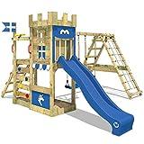 WICKEY Spielturm DragonFlyer Kletterturm in Ritterburg-Optik mit Doppelschaukel, Rutsche, Kletternetz und Sandkasten, blaue Plane + blaue Rutsche