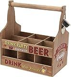 Holz Flaschenträger mit Flaschenöffner - DRINK PARTY - Flaschenhalter Bierträger Flaschenkorb