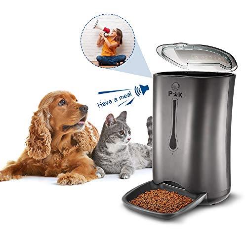 PUPPY KITTY Programmierbarer Futterautomat für Hunde und Katzen, 6.5L bis zu 3Kg, bis zu 4 Mahlzeiten pro Tag mit Timer, 8-Sekündige Sprachaufnahme, LCD Display Automatischer Futterspender