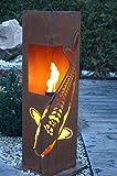 Feuersäule Koi Edelrost Rost Metall Gartendeko Garten Stele Fackel Feuer Säule
