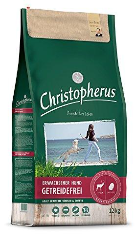 Christopherus Getreidefreie Vollnahrung für den ausgewachsenen Hund mit normaler Aktivität, Trockenfutter, Hirsch + Kartoffel, Ausgewachsener Hund, 12,0 kg