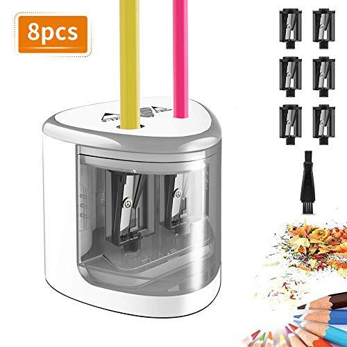 TOPERSUN 8pcs Bleistiftspitzer Anspitzer für Kinder Elektrischer Bleistiftspitzer 6-12mm Doppellöcherdesign mit 6 Klingen perfekt für Büro Klassenzimmer und Zuhause