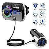 Bluetooth FM Transmitter 5.0 Auto Radio Adapter mit Dual USB Ports (QC3.0/2.4A), Freisprecheinrichtung mit Mikrofon Unterstützt Siri Google, 7 Farbe LED Backlit, TF Karte Aux Auto Bluetooth MP3 Kit