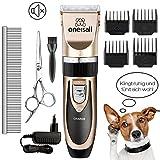 ONEISALL Tierhaarschneidemaschine Haustier Grooming Clipper Kits Geräuscharmer Haarschneidemaschine Haarschneider Schermaschine Hund und Katze Timmer Wiederaufladbare Drahtlose Elektrische Leise Tierhaarschneider