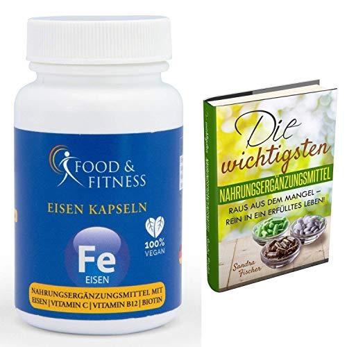 Eisentabletten hochdosiert, 90 Eisen Vegan Kapseln + Vitamin C + Vitamin B12 + Biotin, ohne unerwünschte Zusätze, hergestellt in DE, incl. ausführlichem eBook zu Nahrungsergänzungen von Food & Fitness