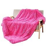 DECOSY Überwurfdecke für Couch (sehr weich, flauschig, Kunstfell) 50'x 60' hot pink