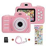 Vannico Kinder Digital Mini Kamera, Selfie Photo Kids Camera HD Kinderkamera 8 Megapixel, Wiederaufladbar Actionkameras Camcorder für Mädchen Jungen mit 16G SD Karte (Rosa)