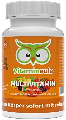 Multivitamin-Kapseln - ohne künstliche Zusatzstoffe - vegane, kleine Kapseln - Qualität aus Deutschland - 100% Zufriedenheitsgarantie - Vitamineule - Enthält 100% aller Vitamine von A-Z!