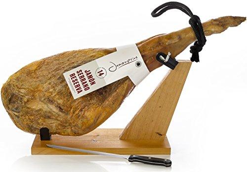 Serrano Schinken Reserva + Schinkenhalter + Messer 6.2-6.8 Kg | Spanischer Schinken