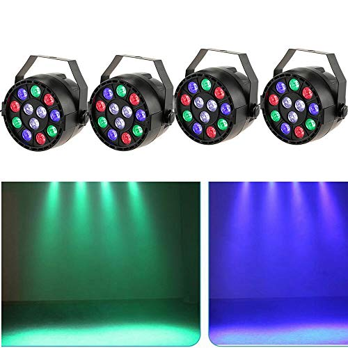 4 Stück Bühnenlicht Set 15W LED RGB Flat PAR Licht DMX Bühncht Beleuchtung 7 Steuerkanäl LED Discokugel Party Partybeleuchtung Scheinwerfer