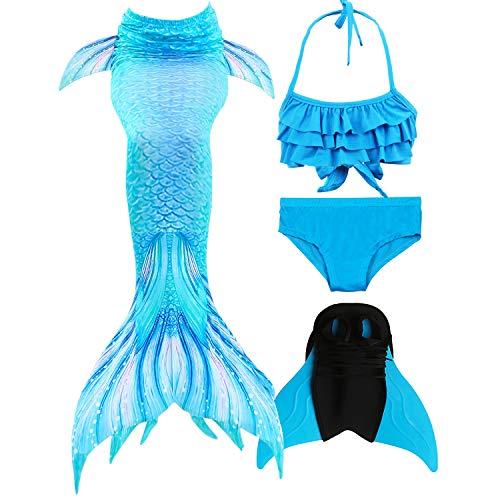 GNFUN Meerjungfrau Schwanz mit Meerjungfrau Badeanzug Schwanzflosse Zum Schwimmen Kostüm Für Kinder Mädchen Bikini Set und Monoflosse, 4 Stück Set, Himmelblau, 120-130cm