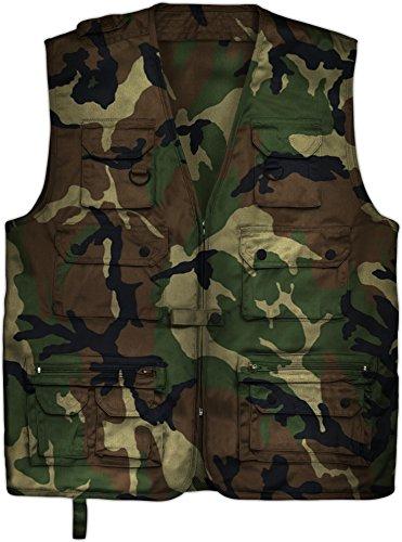 Outdoor Jagd- Angler Weste mit vielen praktischen Taschen? Farbe Woodland Größe XL