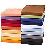 aqua-textil Exclusiv Spannbettlaken 180x200-200x220 Wasserbett Boxspringbett Mako Baumwolle Elasthan Schoko braun
