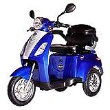 Rolektro E-Trike 25 Blau mit EU Zulassung Elektroroller E-Scooter 600 W Motor 50 KM Reichweite 25 KmH Höschstgeschwindigkeit Eroller E-roller Elektro-Roller Scooter elektrisches Dreirad 3-Rad