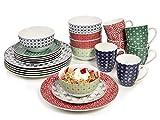 Bluespoon Tafelservice Vintage Porzellan 24 teilig, Kombiservice für 6 Personen, verschiedene Muster, Tellerset farbig, Geschirrset Design
