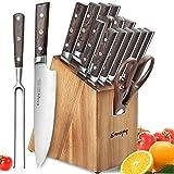 Emojoy Messerblock, Messerset, 16-TLG,mit Holzgriff, Küchenmesser Set, Kochmesserset mit Block, Holzoptik