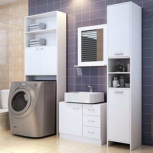 Badezimmerhochschrank in Weiß - Badschrank Badhochschrank Badmöbel Schrank Regal Badregal