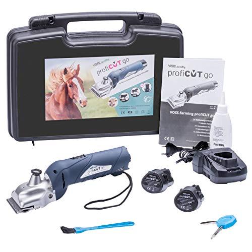 VOSS.farming profiCUT go Akku Schermaschine Blau | für Pferde | inklusive Zwei Blockbatterien | extra leise und laufruhig | mit Aesculap Messersatz | Pferdeschermaschine Haarschneidemaschine