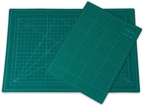 Magnetiks Schneidematte im 2er Set DIN A3 (45x30cm) und A4 (30x22cm) - selbstheilend doppelseitig grün
