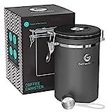 Coffee Gator-Edelstahl-Kaffeedose - Hält gemahlener Kaffee und Bohnen länger frisch - Behälter mit Datumsverfolgung, CO2-Freigabeventil und Messlöffel - Groß - Grau