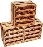 Kistenkolli Altes Land geflammtes Weinregal 16er Maße 40x40x27cm Regalkiste Flaschenablage Weinregal Apfelkiste/Weinkiste (3er Set 16er geflammt)