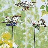 TRI Leuchtstecker 'Schmetterlinge', 3 Stück, Gartendekoration, Sommerdekoration, fluoreszierende Stecker, Metall, Kunststein, 14 x 12 cm, 50 cm