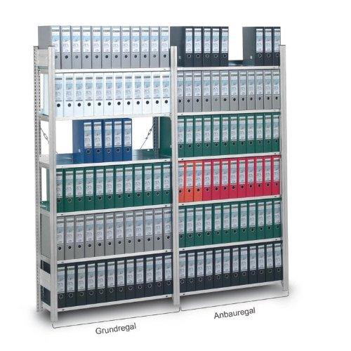Aktenregal, Stecksystem, einseitige Nutzung, Grundregal 1750x335x810 mm, 4 Zwischen- und 1 Deckboden, Tragkraft 60 kg je Boden, für 45 Ordner DIN A4, Oberfläche: verzinkt