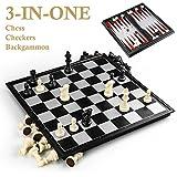 GiBot 3-in-1 Schachspiel Magnetisch, 31,5CM x31,5 CM Einklappbar Schachbrett Pädagogische Speil mit Magnetischem für Kinder, Reisen, Schwarz und weiß