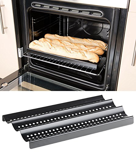 Rosenstein & Söhne Ofenbleche für Baguettes: Baguette-Backblech aus Karbonstahl, Anti-Haft-beschichtet (Baguette-Blech für Küche, Backofen)