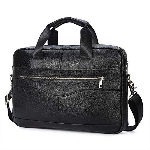 Businesstasche Herren Leder Aktentasche Männer Handtasche Vintage Laptoptasche Arbeitstasche Umhängetasche Schultertasche für 14 Zoll Notebook (e-Schwarz1)