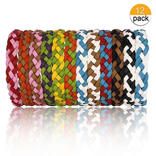 MaoXinTek Mückenschutz Armband Natürlichen Öl Sicheres Deef-Freies Mückenabwehr Bracelet Repellent Wristband für Kinder Erwachsene 12 Stück
