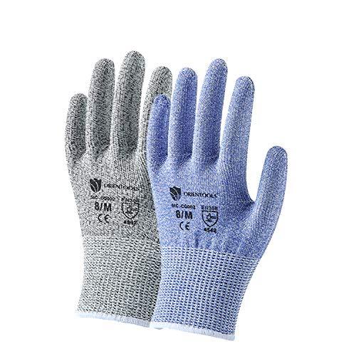 2 Paar Unisex Level 5 Schnittfeste Arbeitsschutzhandschuhe (Lila und Grau, Medium)