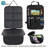 Towinle Kindersitzunterlage Set mit Rückenlehnenschutz und Rücksitzspiegel fürs Baby Autositzschoner Isofix Geeignet Autositzauflage
