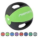 MSPORTS Medizinball Premium mit Griffe 1 – 10 kg – Professionelle Studio-Qualität Gymnastikbälle (4 kg - Grün)