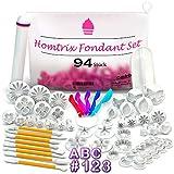 Homtrix Fondant Ausstecher Set mit Buchstaben & Zahlen - Ausstechformen Blumen, Rosen, Sterne - Tortendeko Modellierwerkzeug und Zubehör zum Torten und Kuchen Backen