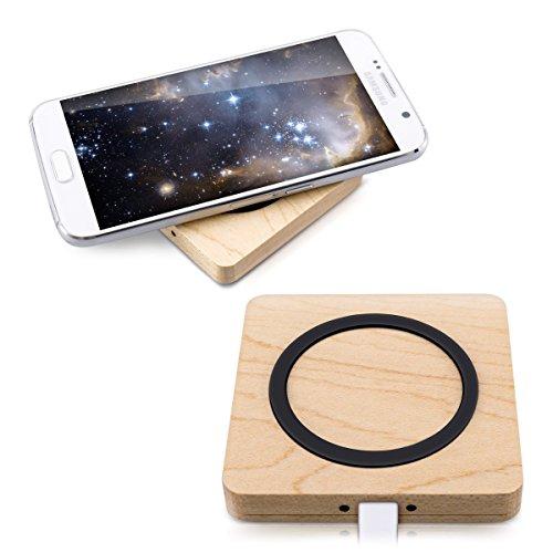 kwmobile kabelloses Qi Ladegerät wireless Charger - kabellos Laden durch Induktion - Ladestation für iPhone Samsung Smartphone Handy - aus Holz