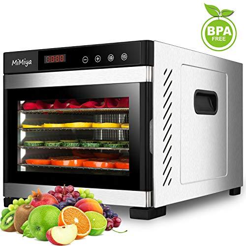 MiMiya Dörrautomat Edelstahl Dörrgerät mit 6 Etagen Digitaler LED Temperaturregler & Timer, Food Dehydrator für Lebensmittel Obst Fleisch Früchte Trockner, Komplettset, BPA-frei, 650W