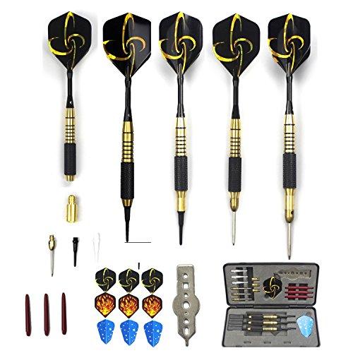 Dartpfeile,3 Stück Steel- & Soft-dart Dartpfeile 21-26g mit 4 Gewichte, 3 Barrels, 3 Softspitzen und 3 Metallspitzen,1 Standard Dartwergzeug, 3 Schäfte, 9 Flights und 1 Profi-Turnierbox zum Verstauen