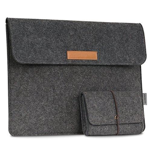 MoKo 10-11 Zoll Tablet Filz Sleeve Hülle - Ultrabook Laptoptasche Notebooktasche Laptop Schutzhülle Tasche mit Karten-Slot / Kleine Filz Bag für Acer One 10.1' / ThinkPad 10 10.1' / Surface 3 10.8' / iPad Pro 10.5 2017, Dunkelgrau