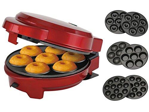 Melissa 3in1 Donut Muffin und Popcake-Maker 3 auswechselbare Backplatten, metallic rot