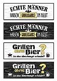Unbekannt 4 x Magnet Griller Grillsauce im Blut Grillen ohne Bier Breite 15 cm