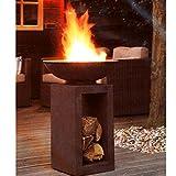 HOT Moderne Feuerschale Feuerkorb Feuerstelle aus Gussstein Ø 39,5cm H68,5