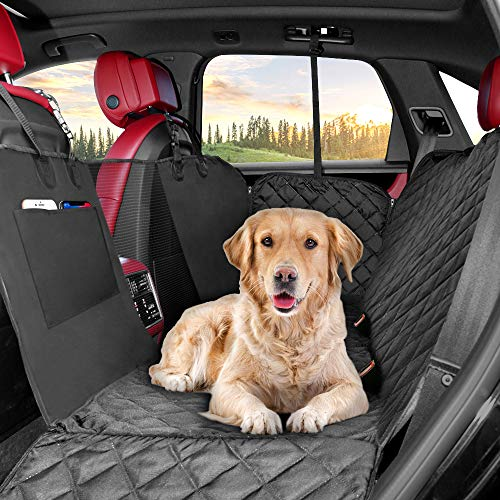 KYG Hundedecke Auto Hundedecke für Rückbankmit Sichtbarem Fenster Autoschondecke mit Seitenschutz und Hunde-Sicherheits-Gurt Hundedecke Wasserdicht aus Robustes Material für Hunde 210 X 149 cm