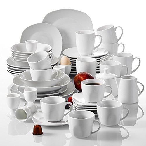 Malacasa, Serie Elisa, 50-teilig Tafelservice aus Porzellan, Kombiservice Frühstückservice Kaffeeservice mit Eierbecher, Kaffeetassen, Untertassen, Müslischalen, Dessertteller usw. für 6 Personen