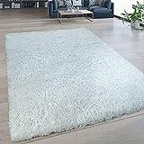 Paco Home Hochflor Wohnzimmer Teppich Waschbar Shaggy Flokati Optik Einfarbig In Weiß, Grösse:80x150 cm