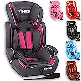 KIDUKU Autokindersitz Kindersitz Kinderautositz, Sitzschale, universal, zugelassen nach ECE R44/04, in 6 verschiedenen Farben, 9 kg - 36 kg 1 - 12 Jahre, Gruppe 1 / 2 / 3 (Grau/Pink)