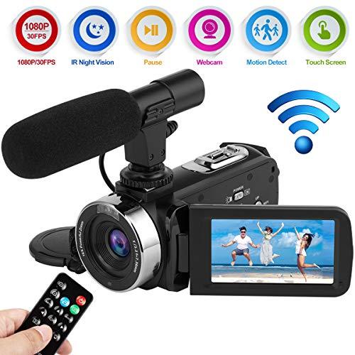 Videokamera Camcorder Full HD 1080P 30FPS WiFi Digitalkamera 24.0MP IR Nachtsicht Vlogging Kamera mit Mikrofon