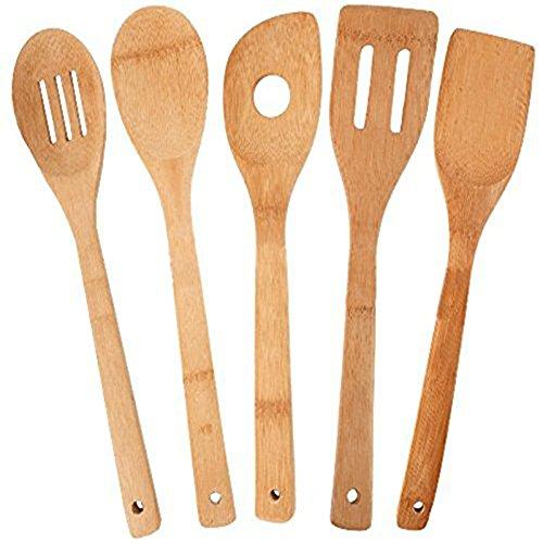 Qinlee 5 Stücke Set Küchenhelfer Set Bambus Kochbesteck Kochen Braten Dünsten und Zubereiten Kochlöffel